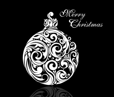 Black And White Christmas Ball Illustration