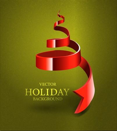 Christmas Tree Made By Ribbon Illustration