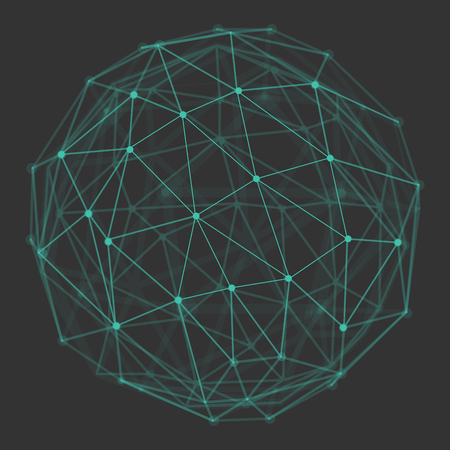 Polygonal 3d globe with connecting dots and lines