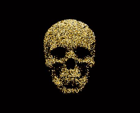 Golden sparkling human skull
