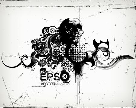 Grungy Floral Illustration With Skull Vektoros illusztráció