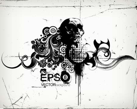 Grungy Floral Illustration With Skull