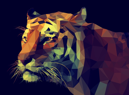 Low Poly Tiger Vektorové ilustrace
