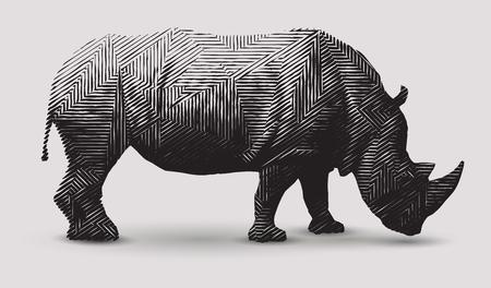 Ilustración blanco y negro de la ilustración del rinoceronte del vector. Arte de línea poligonal.
