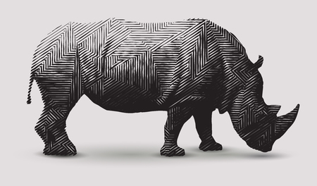 Vector rhinoceros illustration black and white illustration. Polygonal line art.