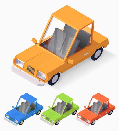 3d cartoon style car isometric illustration.