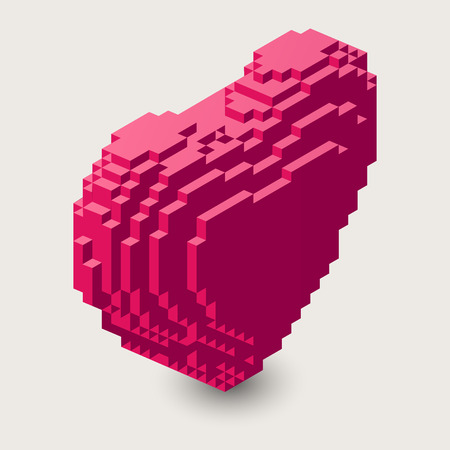 Voxel heart shape icon in 3d pixel style.