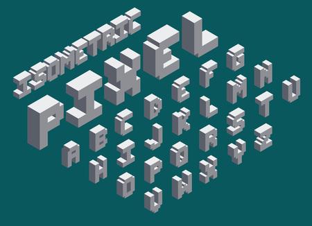 3d isometric pixel font set.