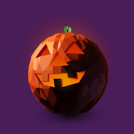 Illustration of a laughing pumpkin lantern in low poly style design. Illustration