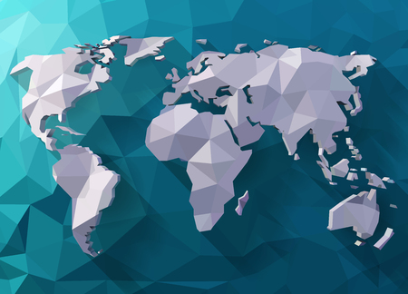 World map in polygonal style illustration.