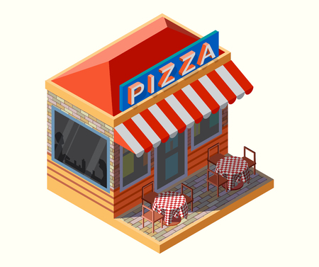 Pizza place, with chairs and tables in isometric illustration.