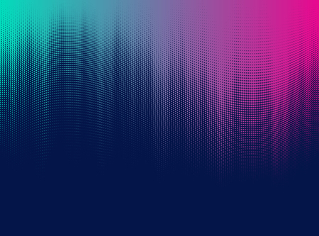 Halftone Vibrant gradient effect in retro 80's style colors and textures. Illustration