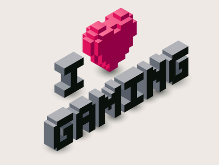 Vector 3d gaming pixel icon.Vector isometric heart illustration, with text: I love gaming.