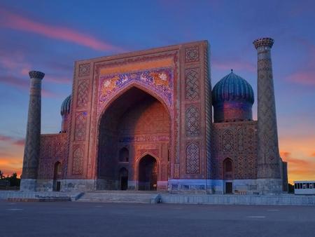 Sunset shot from Registan Square of Sher Dor Madrasah, Samarkand, Uzbekistan Stock Photo - 94667485
