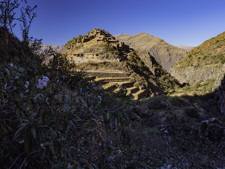 Pisac is a village located in Sacred Valley region. A hilltop Incan citadel with ancient temples made by Incas. Cusco region, Peru