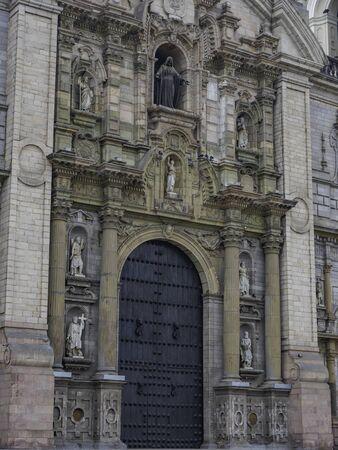 Facade of main door at Lima Cathedral, Lima city, Peru