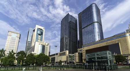 Skyscrapers and buildings of the financial center surround the main square of Tian Fu. Chengdu city, China