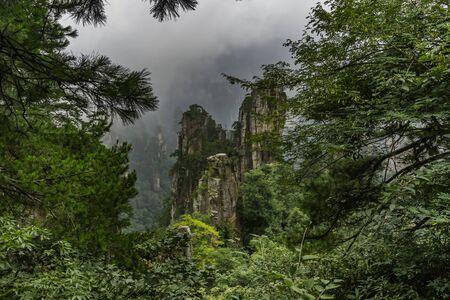 Yubi Feng Peaks through the trees of Tianzi Mountain. Yuanjiajie Scenic Area, Zhangjiajie National Park, China