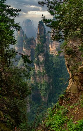 Giant rock formation. A column mountain called Hallelujah in Yuanjiajie Scenic Area, Zhangjiajie National Forest Park, Hunan province, China.