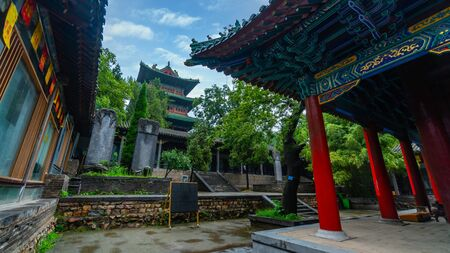 Pagoda in main courtyard at Shaolin Monastery. A buddhist complex in central China where monks study wushu. Songshan Mountain, Henan province, China