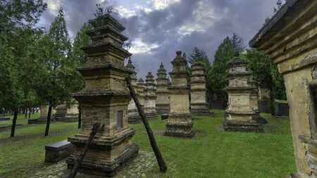 Pagoda Forest at Shaolin Temple Shaolin Monastery. Graves of Shaolin Masters at the Shaolin Temple near Luoyang, China, Henan province, China Stock Photo