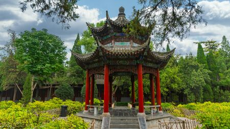 Small chinese pagoda in the middle garden at White Horse Temple, outskirts Luyoang, Henan province, China