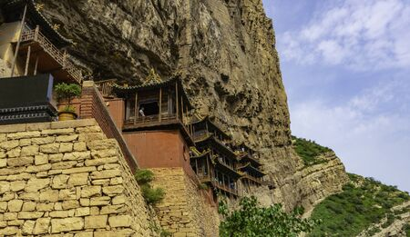 Famous chinese hanging monastery made by Northern Wei Dynasty. Xuankong Temple in Shanxi Province near Datong, China