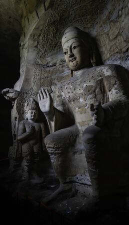 Ancient cave. Famous Buddhist Caves Art Treasure Houses in Yungang Grottoes. World cultural heritage located in Datong, Shanxi Province, China