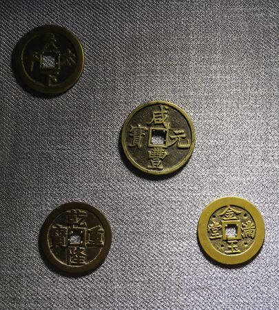 Old chinese coins found on ancient bank at Pingyao Old City, Shanxi province, China Stock Photo