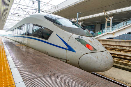 Locomotive of Chinese bullet high-speed train. Chengdu city, China Editorial