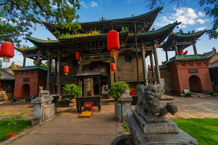 Main entrance to The God of Wealth Temple (Cheng Huang Temple), Pingyao Ancient City, Shanxi province, China