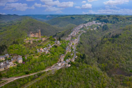 Aerial view of village of Najac, Aveyron, France. Famous for the partly ruined that dominates the town Stock Photo