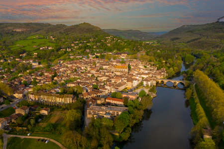 Sunset Landscape of River Aveyron and the surrounding gorges at ancient village of Saint Antonin Noble Val in France