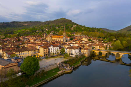 Aerial view of Saint-Antonin-Noble-Val from riverside