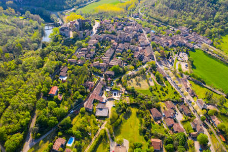 Aerial view of the medieval village of Bruniquel, included among the most beautiful villages in France