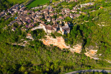 Aerial panorama of the medieval village of Bruniquel, an authentic architectural jewel. Stock Photo
