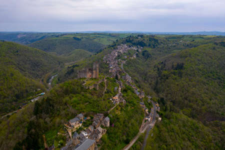 A picturesque village build on a hill. Najac town, Aveyron, France Stock Photo