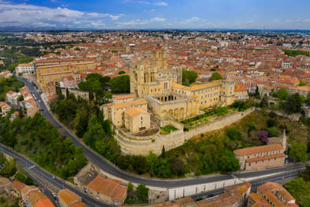 Aerial view of old bridge and Cathedral Saint Nazaire in the Beziers town. Cathedral built in the XIV century. France