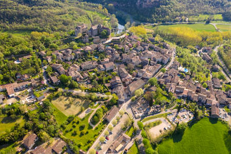 Aerial view of medieval village of Bruniquel in Occitania, France