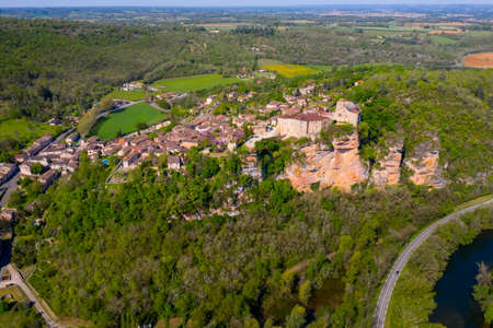 Aerial view of Bruniquel Castle in a medieval village, Tarn, Midi-Pyrenees, Occitania, France Editorial