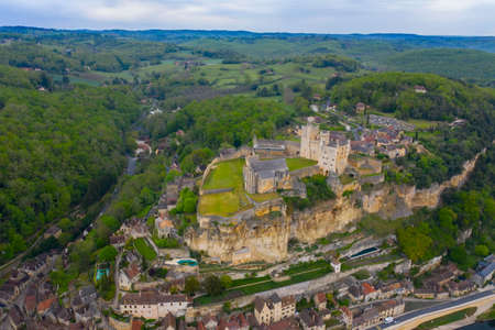 Aerial view of Castle of Beynac, village of Beynac and Cazenac on the Dordogne, France Aquitaine, Southern France