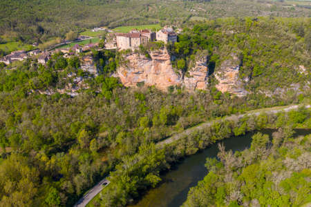 Bruniquel Castle is located at the edge of mountain valley. It is in the Tarn-et-Garonne department in the Occitanie region in southern France. Editorial