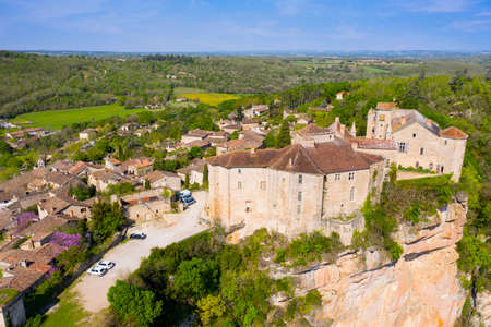 Aerial view of Castle of Bruniquel is a good example of early 12th century castle, Occitanie, France. The whole site has been classified as a historic monument and has recently been restored.