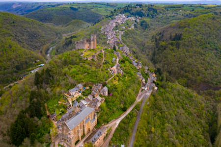 Aerial view of Château de Najac (Castle of Najac) is one of a group of 23 castles in Aveyron who have joined together to provide a tourist itinerary as the Route des Seigneurs du Rouergue. The castle has been listed as a monument historique by the French