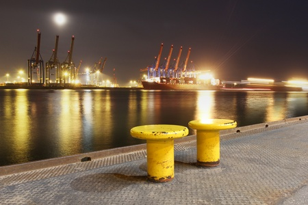 View over the Elbe River onto the Container terminals  Stock Photo