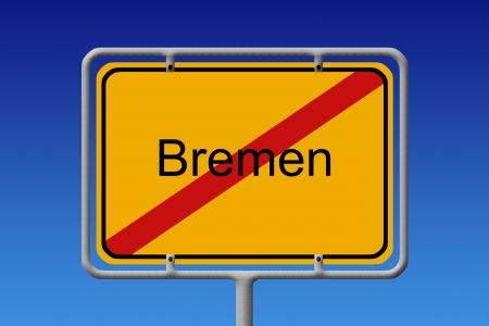 bremen: Illustration of a german city limit sign of the city of bremen