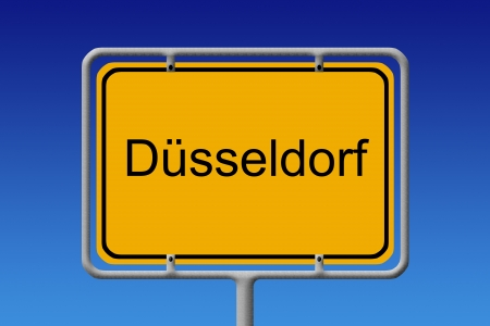 north rhine westphalia: Illustration of a german city limit sign of the city of düsseldorf Stock Photo