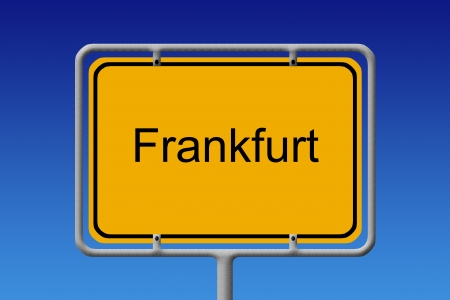 frankfurt: Illustration of a german city limit sign of the city of frankfurt Stock Photo