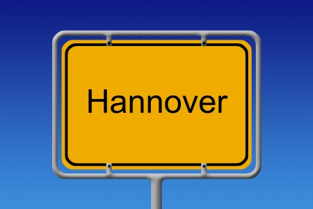 Illustration of a german city limit sign of the city of hanover