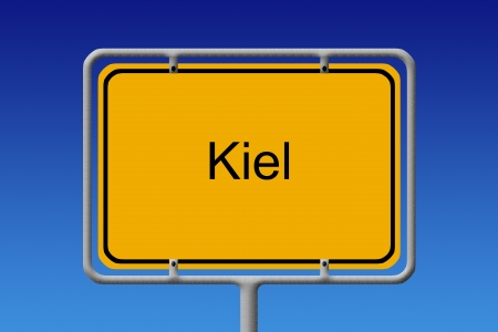 schleswig holstein: Illustration of a german city limit sign of the city of kiel Stock Photo